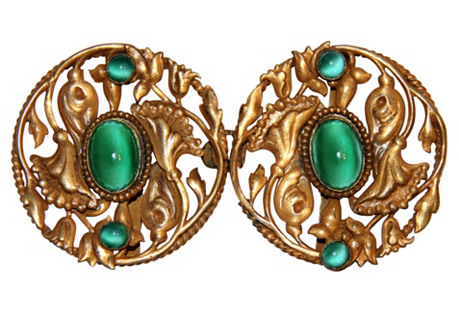 Art Nouveau Jeweled Belt Buckle Set