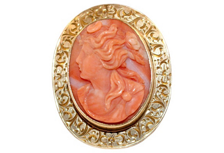 14K Gold & Coral Cameo Brooch/Pendant