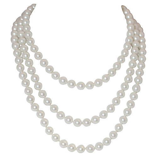 Long Glass Faux-Pearls Necklace