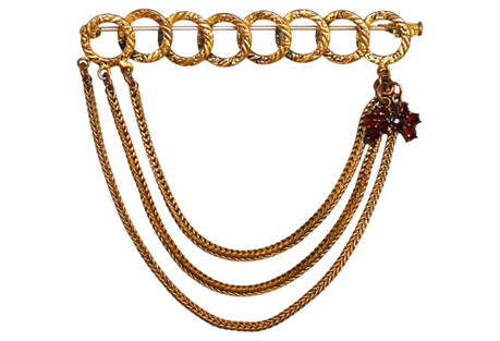 French Chain & Garnet Brooch