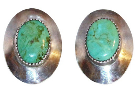 Large Oval Sterling & Turquoise Earrings