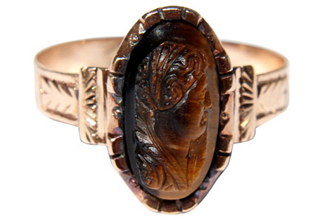 Victorian Tiger's Eye Cameo Ring
