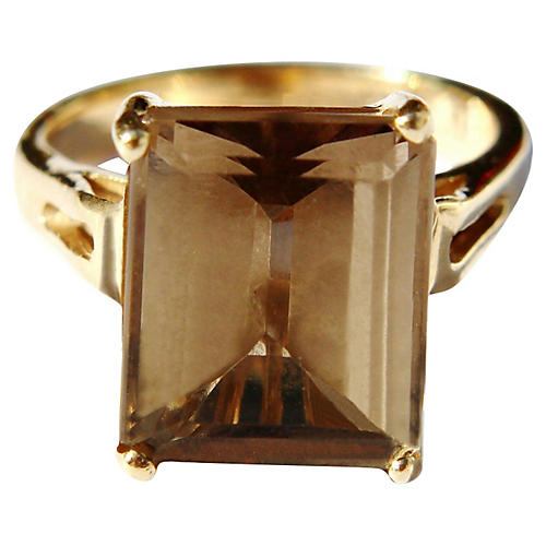 14K Gold Smokey Topaz Ring