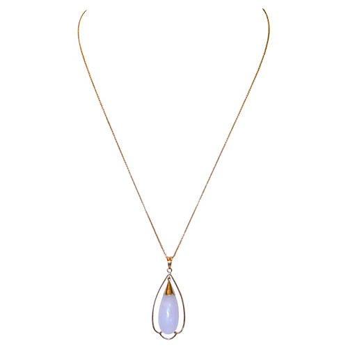 14K Gold & Lilac Jade Pendant Necklace