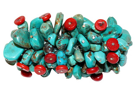 Turquoise & Coral Nuggets Bracelet