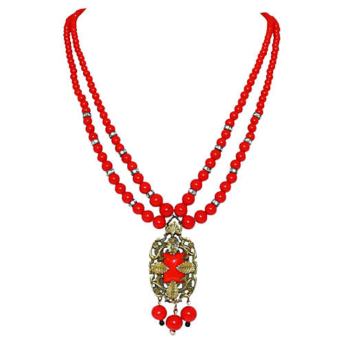 1930s Red Beaded Pendant Necklace