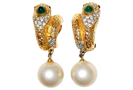 1980s K.J.L. Jeweled Snake Earrings