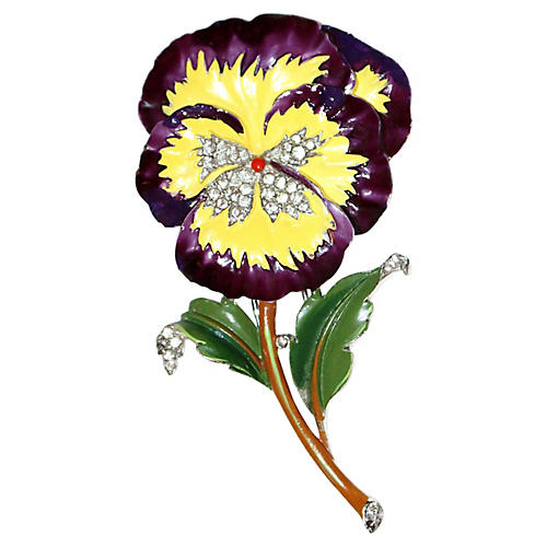 Trifari Jeweled & Enameled Pansy Brooch