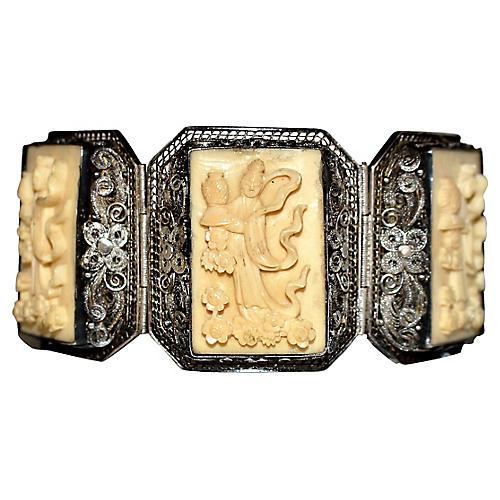 Carved Sterling & Bone Panel Bracelet