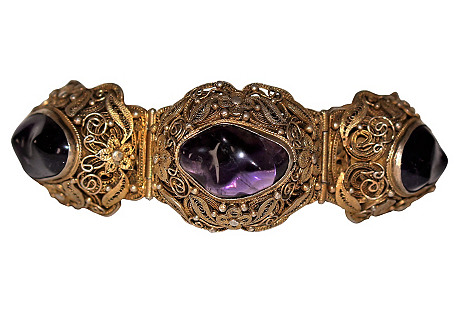 Chinese Gold-Plated Amethyst Bracelet