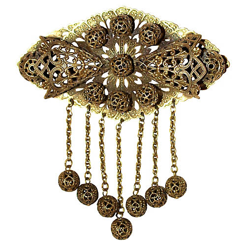 Ornate Brass Filigree Brooch, C. 1930