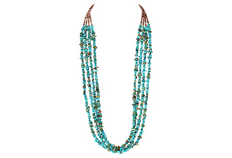 Multi-Strand Turquoise Nugget Necklace