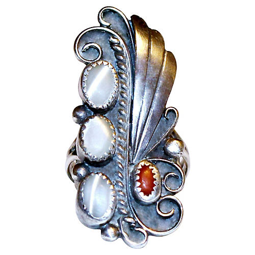 Sterling, Coral & Mother-of-Pearl Ring