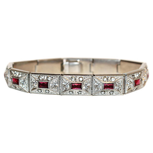 Art Deco Silvertone Jeweled Bracelet