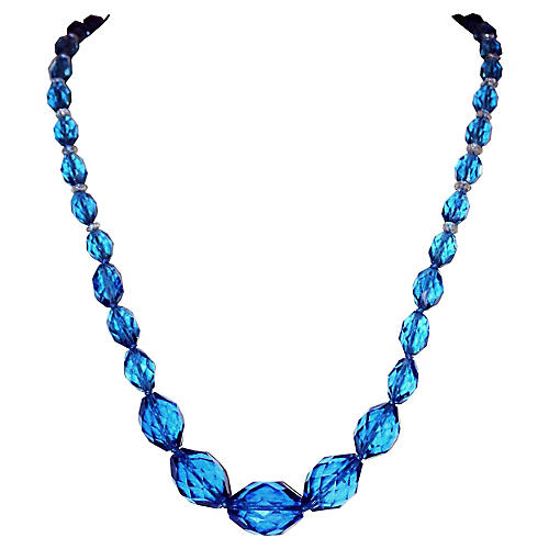 1920s Deep Blue Faceted Glass Necklace