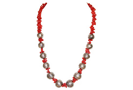 Coral & Sterling Silver Bead Necklace