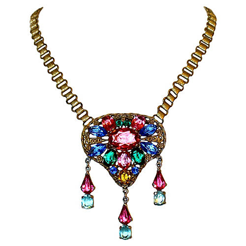 Czech Jeweled Pendant Necklace, C. 1920