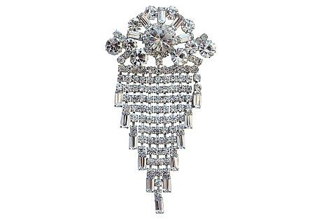 Large Dangling Crystal Brooch