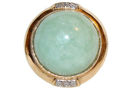 14K Gold, Jade & Diamond Ring