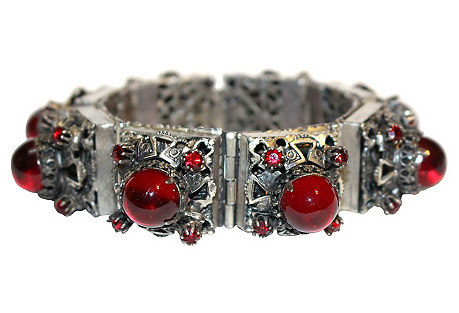 Silver-Plated Red Cabochon Bracelet