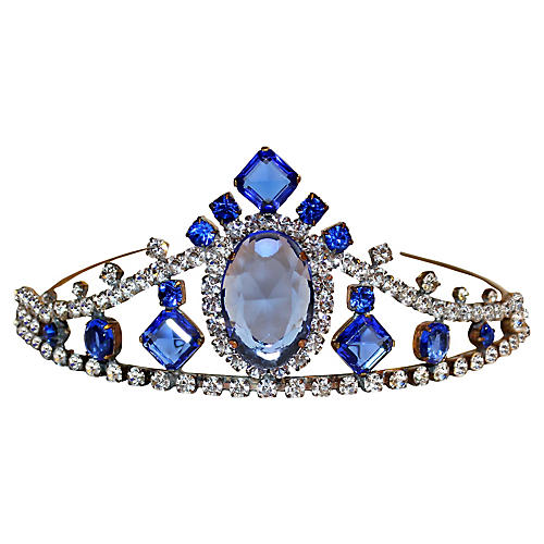 Blue Faceted Glass & Rhinestone Tiara