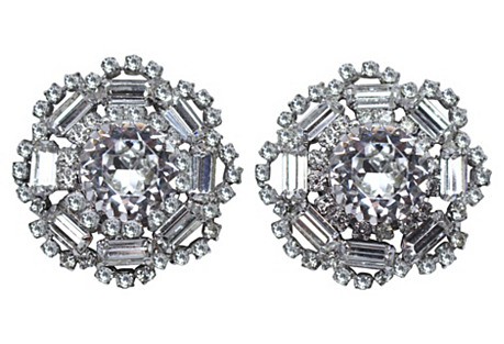 Large Round Crystal Earrings