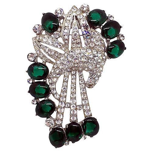 1930s Coro Emerald Green Cabochon Clip