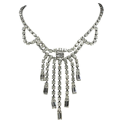 Rhinestone Choker Bib Necklace
