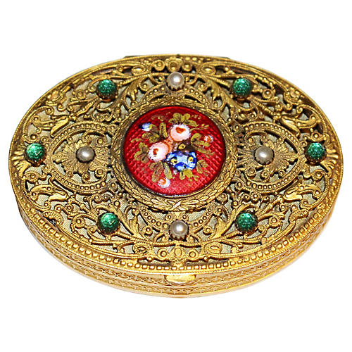 1920s French Jeweled Compact