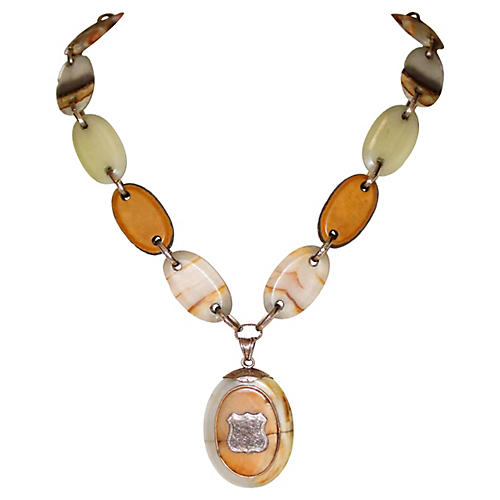 Agate Locket Necklace, C. 1850