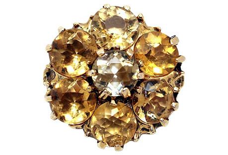 14K Gold Citrine Cluster Ring