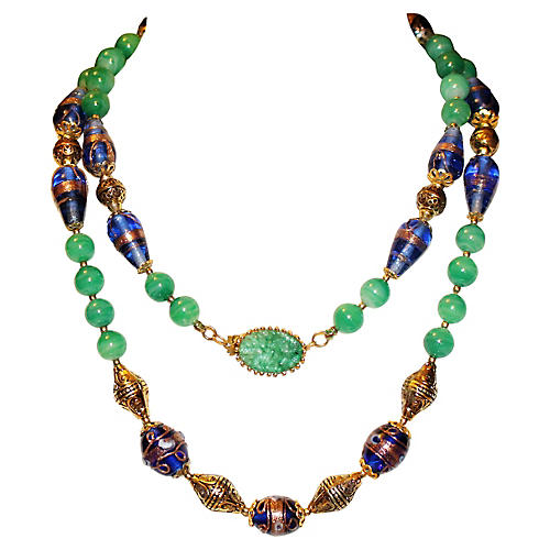 Joseph Mazer Ornate Art Glass Necklace