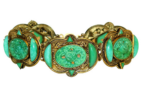1920s Czech Molded Glass Bracelet