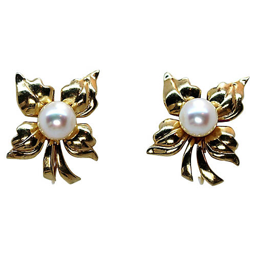 14k Gold & Pearl Earrings, 1950s