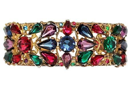 1940s Jeweled Hinged Bangle