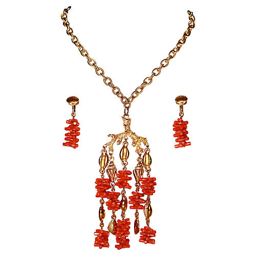 Trifari Faux-Coral Necklace & Earrings