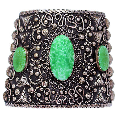 Ornate Jeweled Alapaca Cuff
