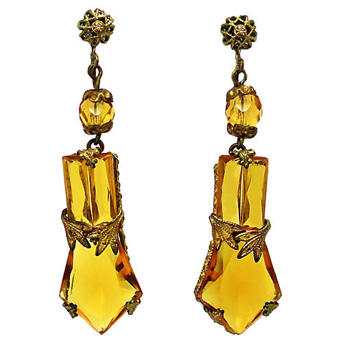 1920s Faceted Topaz Glass Earrings