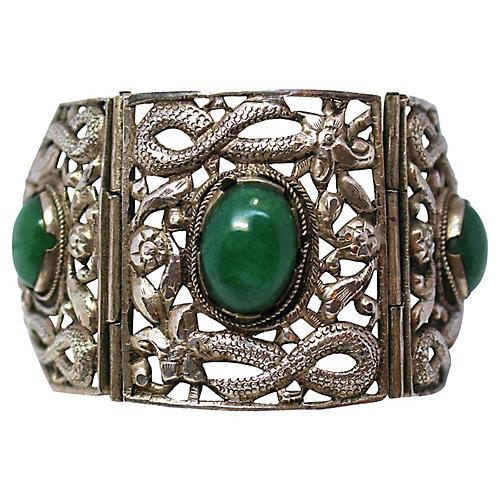 Chinese Sterling & Serpentine Bracelet