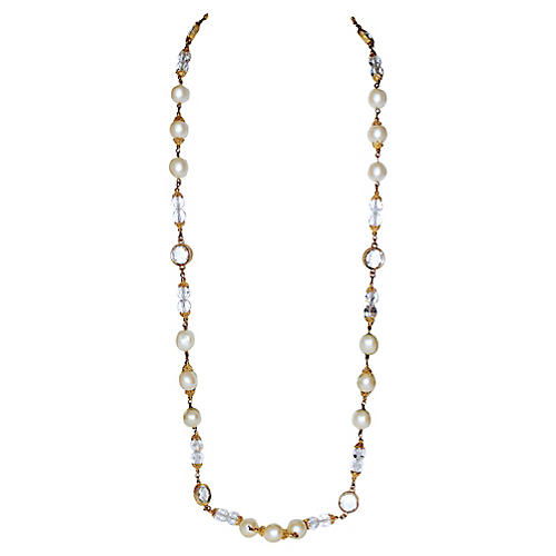 Faux-Pearl & Faceted Crystal Necklace