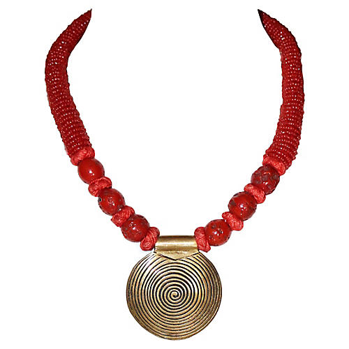 Coral and Brass Pendant Necklace