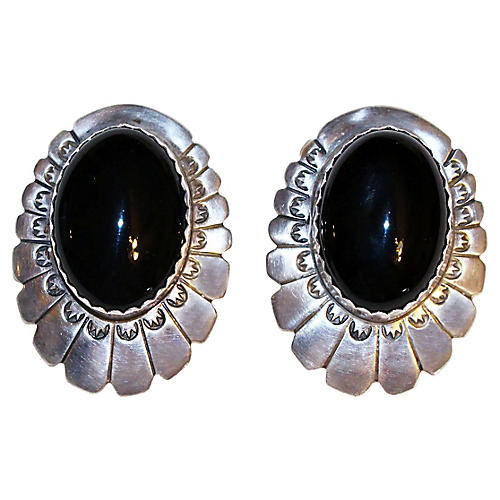 1940s Sterling Silver & Onyx Earrings