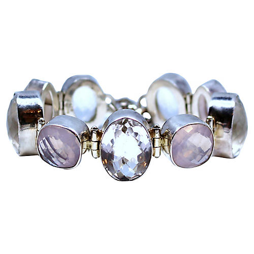 Sterling Silver & Rose Quartz Bracelet