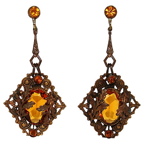 Czech Topaz Glass Earrings