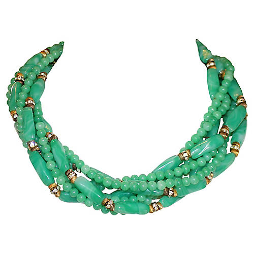 Wm deLillo Green Glass Choker