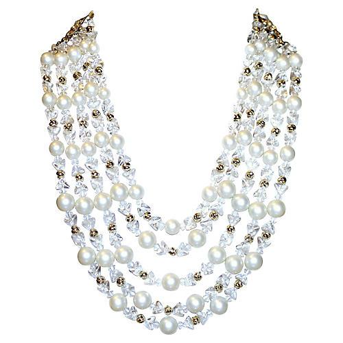 Schiaparelli Faux-Pearl Bib Necklace