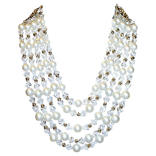 Schiaparelli Faux-Pearl Bib Necklace