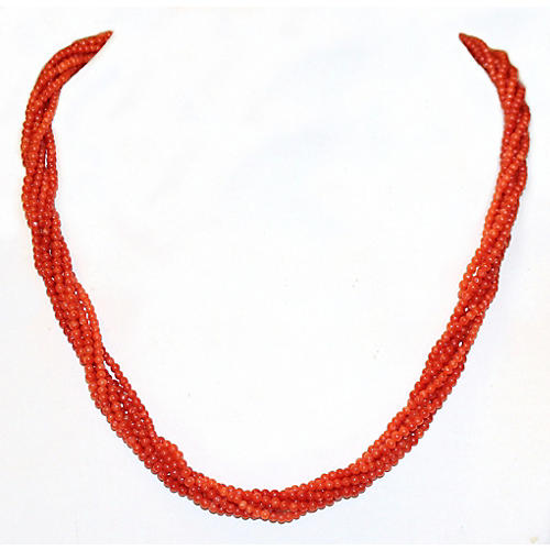 Multi-Strand Coral Bead Necklace