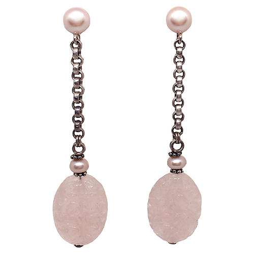 Pearl & Sterling Drop Earrings
