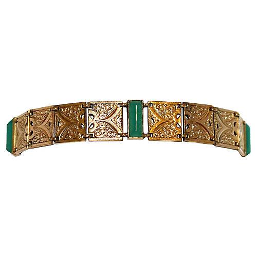 10K Gold & Chrysoprase Bracelet